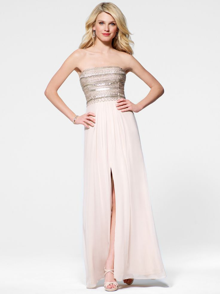 EVENING DRESSES | Pink Beaded Bodice Gown | Caché