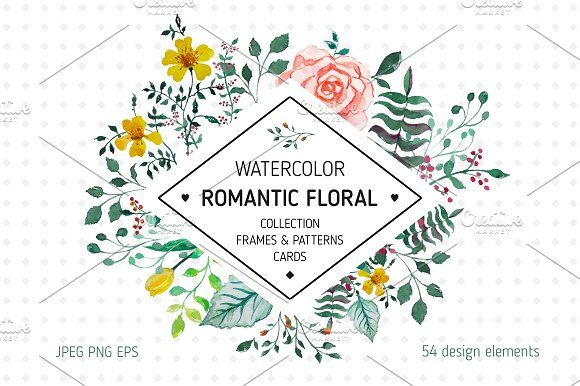 *Romantic floral * by OlgaAlekseenko on @creativemarket  The Romantic Floral collection features watercolor floral patterns, frames, individual floral graphics, and more! The collection is ideal for creating logos, wedding invitations, apparel, greeting cards, stationery, and more!