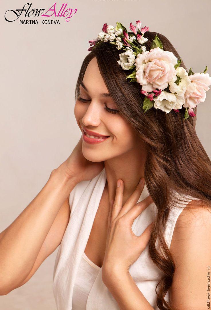 """Купить Ободок для волос с цветами - """"Василиса"""" Цветы из шелка. - венок из цветов, в прическу, цветы из ткани"""