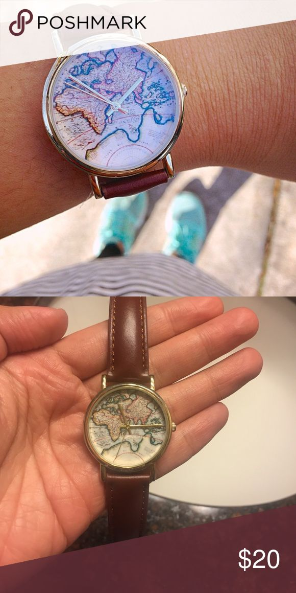 Brown Leather Map Watch Urban Outfitters Map Watch. Great condition. Needs battery replacement. Urban Outfitters Accessories Watches