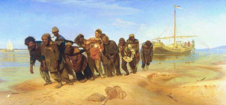 SOCIAAL ENGAGEMENT 1750-1900 ILJA REPIN de wolgaslepers --> realistisch schilder met kritiek op sociale kwestie in Rusland (tsaartijd) --> sociaal realisme (kunst moet sovjet russisch zijn) --> wolgaslepers: protest tegen sociale ongelijkheid in tsarentijd, beeld de boeren af als helden, laat zien dat de armen worden behandeld als paarden