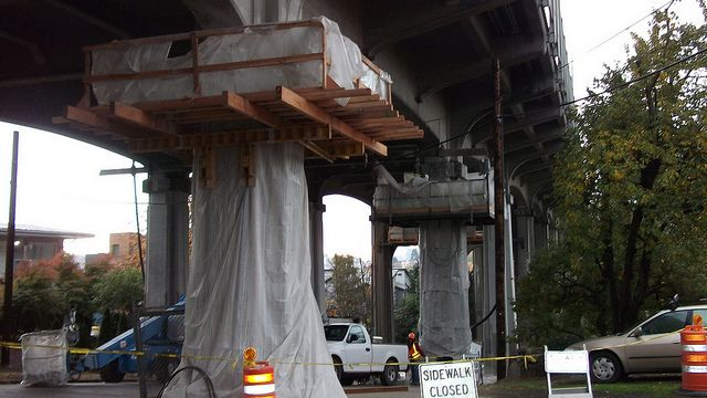 Aurora Avenue Bridge seismic retrofit by WSDOT, via Flickr