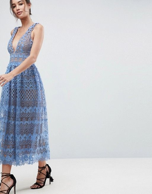 77d56daa Boohoo exclusive lace midi dress in 2019 | Clothes | Lace midi dress ...