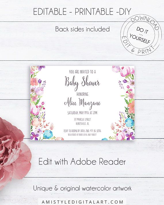 Floral Shower Invitation Template, with an adorable watercolor floral design perfect for those who love shabby chic style.This floral baby shower printable invite listing is for an instant download EDITABLE PDF so you can download it right away, DIY edit and print it at home or at your local copy shop by Amistyle Digital Art on Etsy