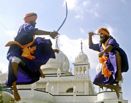 """""""Gatka: Gatkais weapon-based Indian martial art basically created by the Sikhs of Punjab.There are many weapons used in Gatka like, Stick, Talwar, kirpan and kataar. The attacking and defense methods are based upon the positions of the hands feet and nature of weapons used. It is also displayed during the different celebrations or at fairs in Punjab."""""""