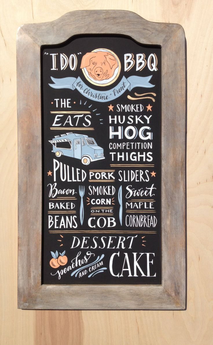 Bbq Menu Chalk Board Sign Hand Painted And Hand Lettered