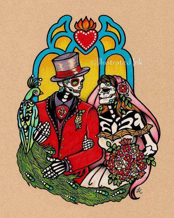 Dia de los Muertos WEDDING COUPLE Day of the Dead Art Print 8 x 10