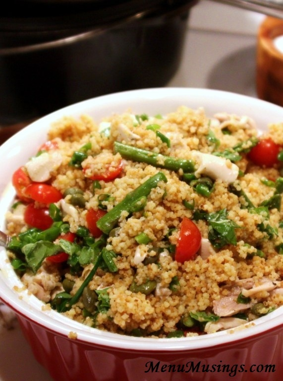 """Toasted Couscous Salad with Asparagus and Tomatoes... this tiny Moroccan pasta packs a wallop of nutrition and makes a fabulous hot """"entree salad"""" when combined with a fresh lemon vinaigrette, lean chicken and some of my favorite herbs and veggies!  Photo and video tutorial included"""