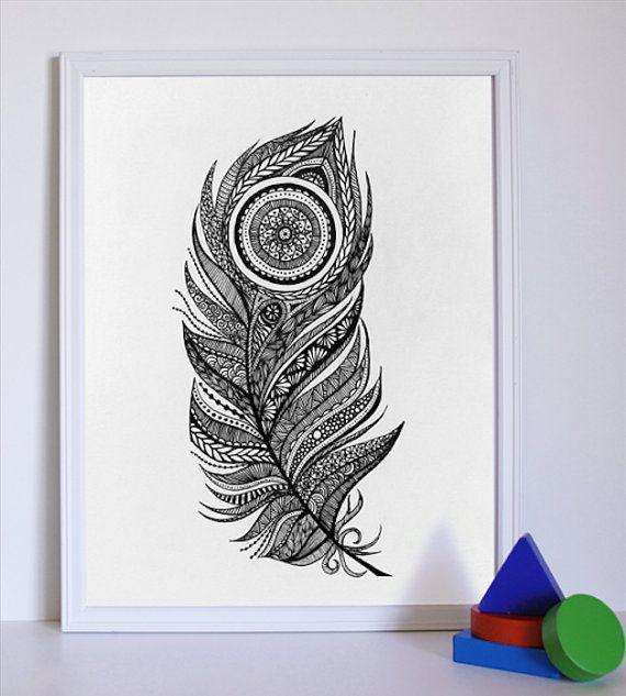 Peacock Feather Print   Aztec Design   Black & white   Original Illustration   Hand drawn art   Home Decor   Peacock feather Illustration