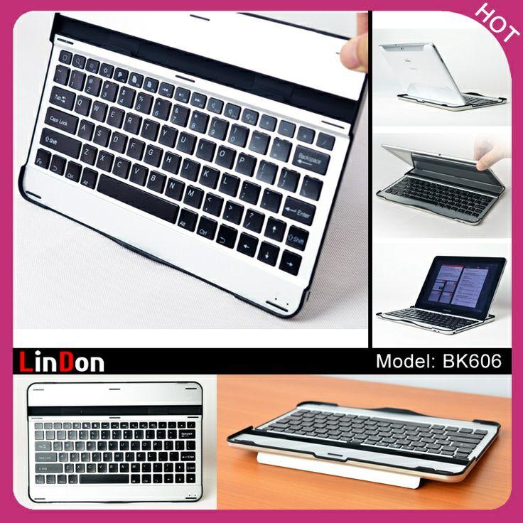 Aluminum Ultra Slim Teclado Wireless Bluetooth Keyboard Case For Samsung Galaxy Tab 10.1 P7500 P7510 Free Shipping Black/White $62.00