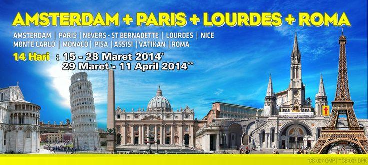 Amsterdam+Paris+Lourdes+Roma 14 hari CS-007 Tour Ziarah Nasrani Info: Nathalia CHRISTOUR WA: 0821 1452 8137