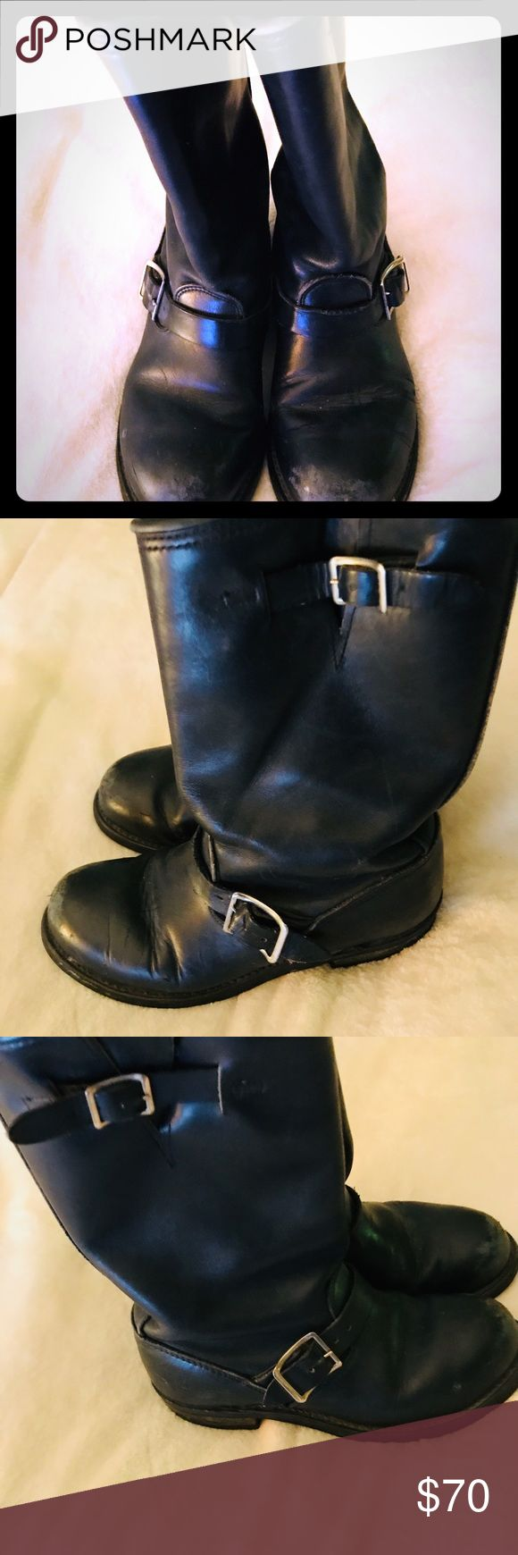 Lived in but PERFECT biker Boots! I kept these because in '96 I worshiped them.  Biker Boots 100% Leather with a Rounded  steel toe and wooden heal.  Size 7.  Mid length OIL-PROOF BILTRITE Shoes Combat & Moto Boots