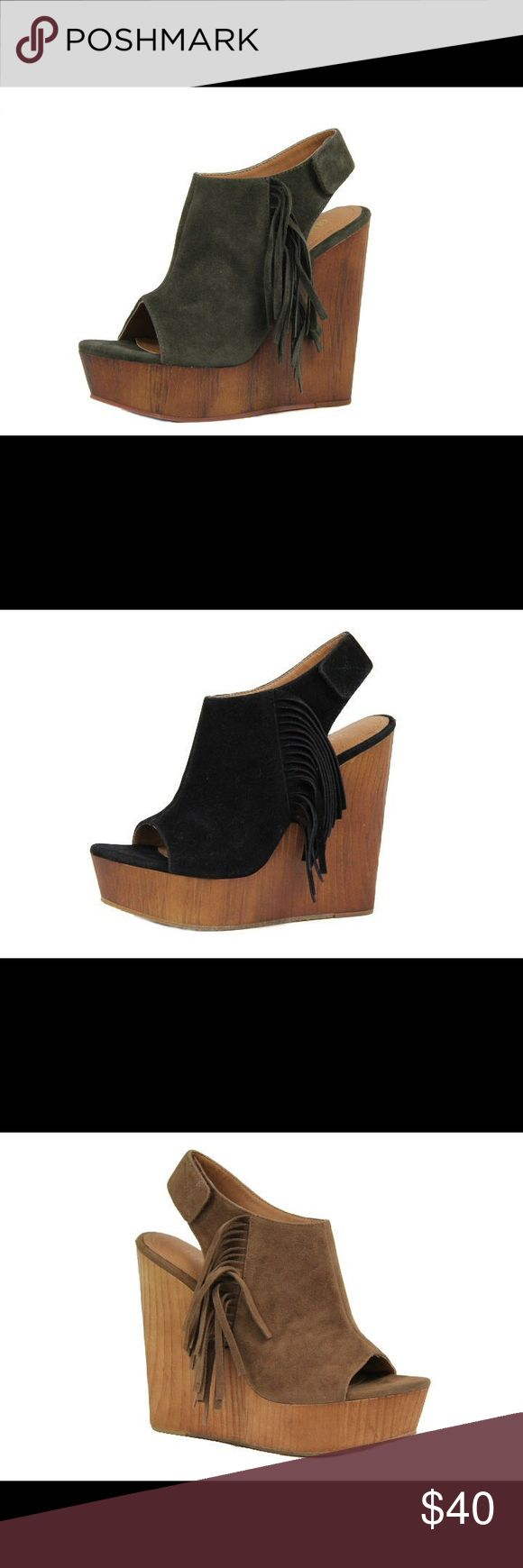 Ladies wedge sandal with side fringe. Olive. NIB Very stylish and comfy ladies wedge sandal with side fringe. Around 5 inches heels. Brand new in box, olive  and available also in camel and black colors and listed in my closet. Man made suede. NO TRADES shoeroom21 boutique Shoes Wedges