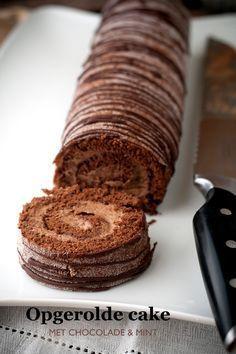 Opgerolde cake met chocolade en mint