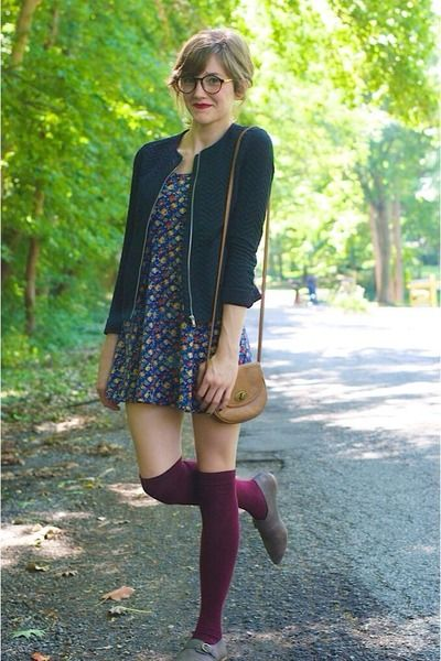 brick red knee high socks - navy floral cotton Forever 21 dress