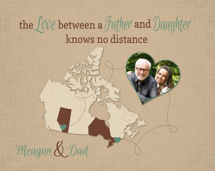 Gift for Dad, Long Distance Gift, Father and Daughter Quote, Birthday Present for Dad, Personalized Map Art, Moving Away Gift, Canada Map, Keepsake, Map, Home Decor by #KeepsakeMaps on Etsy
