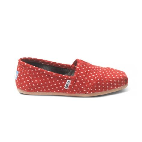 Shop for Womens TOMS Dot Classic Casual Shoe in Red at Journeys Shoes. Shop today for the hottest brands in mens shoes and womens shoes at Journeys.com.Because polka dot Toms are just more fun. Tis the season! Classic Slip-On featuring the famous Toms toe stitch and elastic V, cushioned suede insole, latex arch, and one piece mixed rubber outsole.