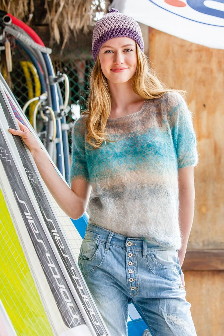 Lana Grossa AJOURPULLI Silkhair Print - FILATI Mützen & Accessoires No. 6 - Street & Beach - Modell 21 | FILATI.cc WebShop