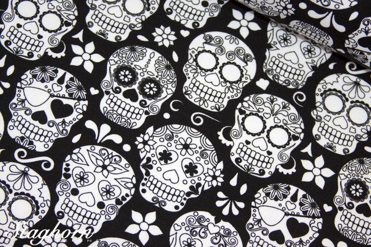 Totenkopf Blumen Jersey Skulls Vicente schwarz
