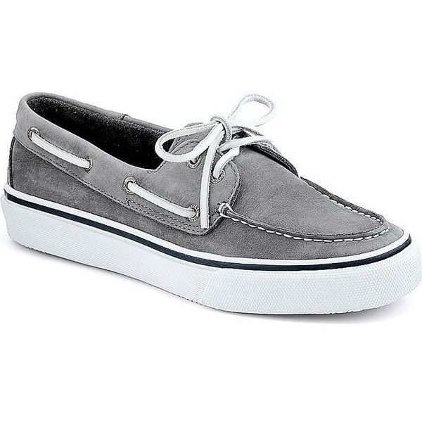 Men's Washable Bahama 2-Eye Boat Shoe in Grey by Sperry ($90) ❤ liked on Polyvore featuring men's fashion, men's shoes, men's loafers, mens shoes, mens grey shoes, mens deck shoes, mens sperry topsiders and sperry mens shoes