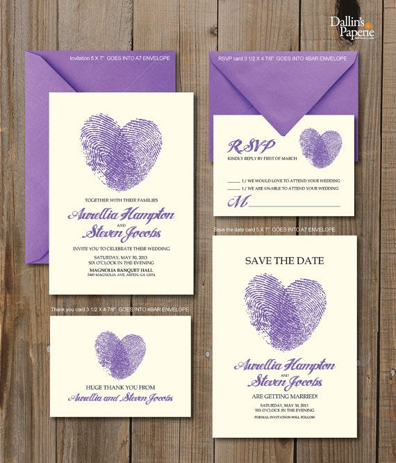 Matrimonio invito stampabili dito stampa cuore di DallinsPaperie