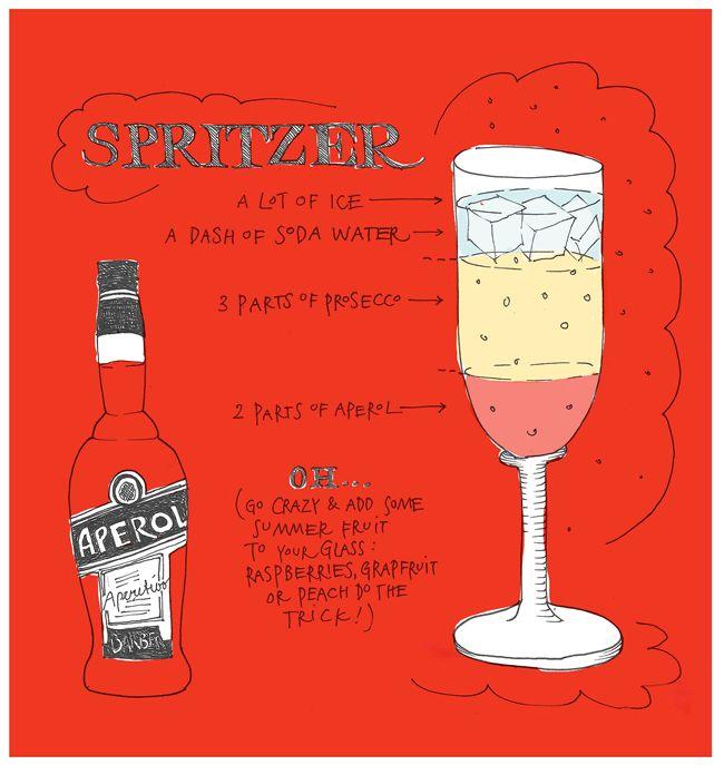 Aperol Spritzer   Aperol, prosecco, soda water, ice, summer fruit