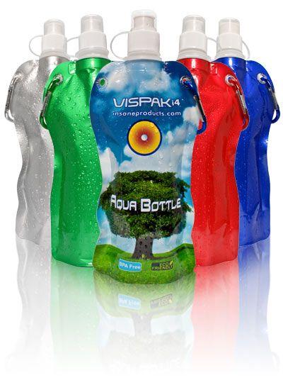 Vispak-Aqua Bottle-The Reusable Foldable Water Bottle- http://www.creatchmanpromo.ca/