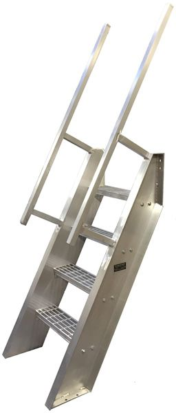 Welded Aluminum Ships Ladder, Hatch Access, Roof Access Ladders, Ladders, Ships Ladder, 68° Steep Incline, Structural Steel Stairways Ships Ladder Design