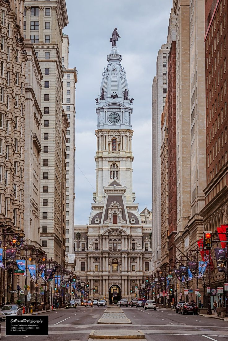 A view of the Philadelphia City Hall from Broad Street.