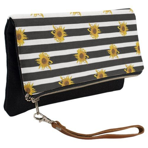 Sunflowers on Black and White Stripes Clutch - stripes gifts cyo unique style