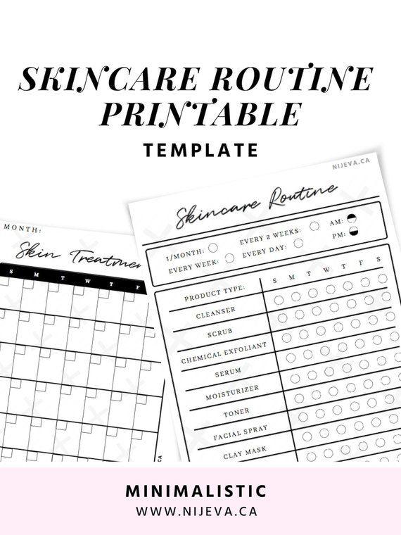 Skincare Routine Printable Daily Beauty Tracker Minimalist Skincare Printable Bullet Journal Nijeva Skin Care Routine Skin Care Routine Printable