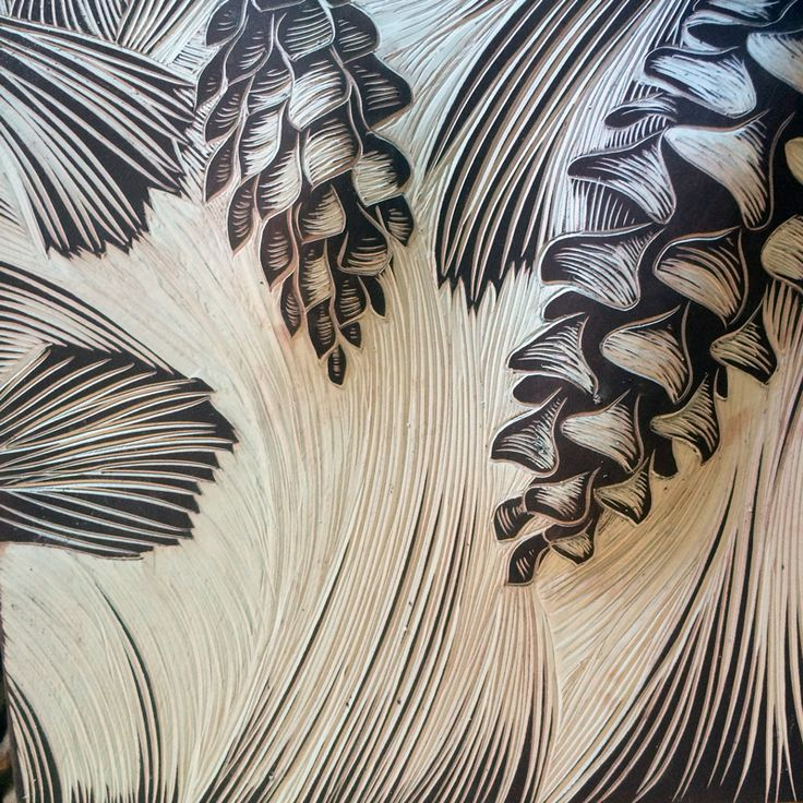 Pine needles and cones carved onto handmade ceramic art tiles • Natalie Blake Studios
