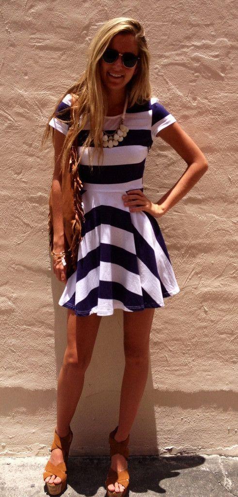 Lovely stripe print summer mini dress
