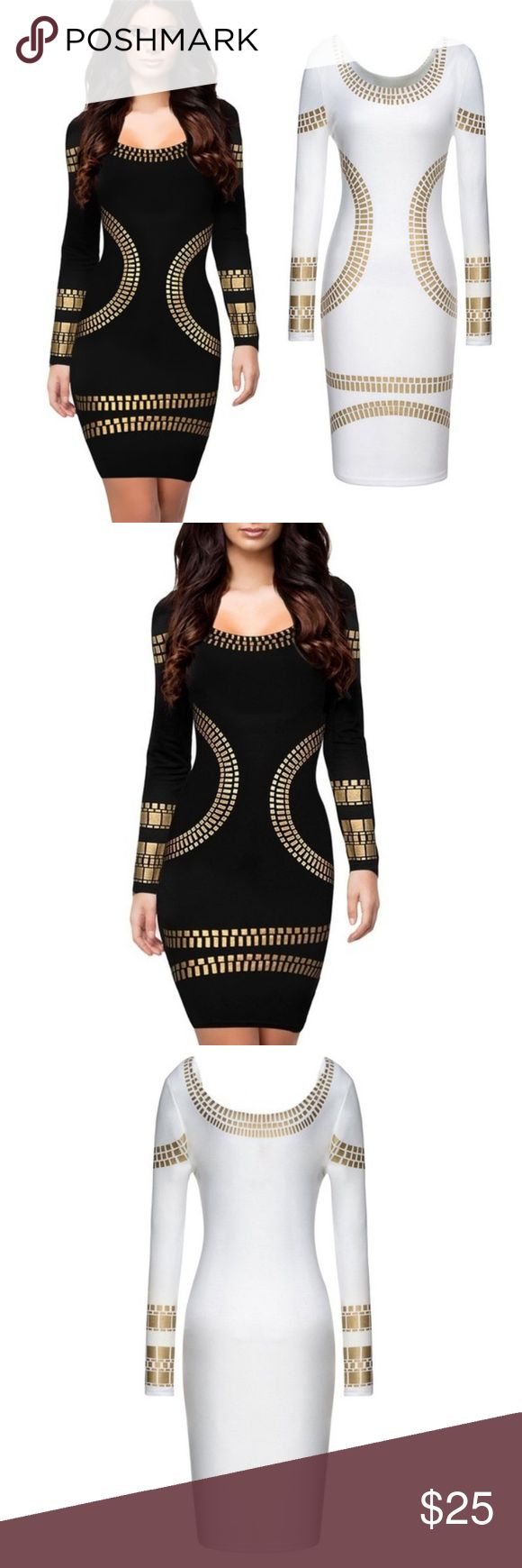 💜💜 Hot Miami Style Gold Pattern Bodycon Dress Brand new. As worn by Kim Kardashian. Very sexy, elegant, Brazilian style bodycon dress. Excellent for parties, clubs, and other special occasions. Will leave an impression! Note: dress is not studded - the gold is a printed pattern, not metal/plastic pieces. Dresses run slightly larger than their size! Dresses