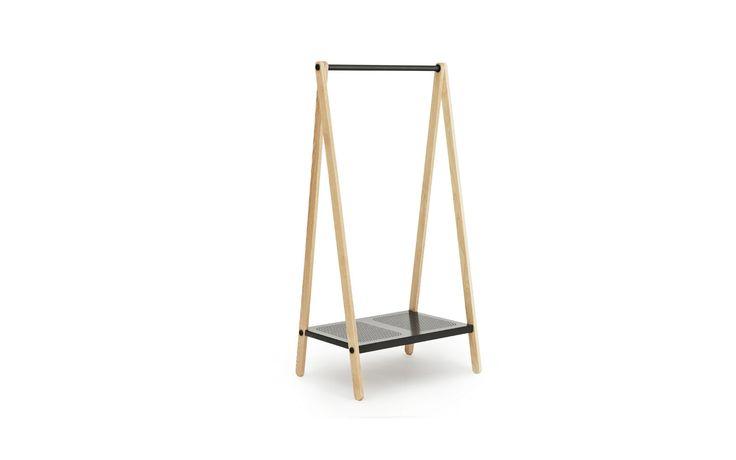 Toj Clothes Rack | Stylish wardrobe furniture in grey steel and ash | Small