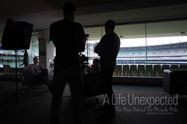 The crew discuss logistics for the day before filming at the MCG. Photo by Stefano Ferro