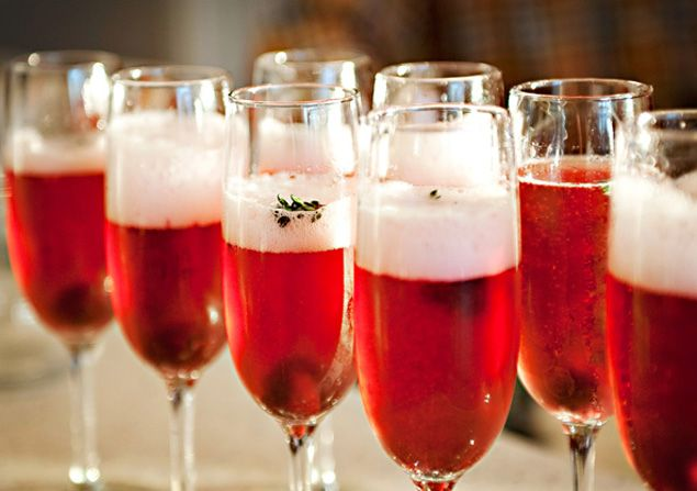Winter wedding cocktail idea---Cherry Thyme Champagne