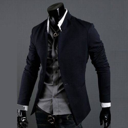 Free Shipping 2013 Mens Fashion Stand Collar Suit Tops Casual Slim Fit Stylish Blazer Jacket For