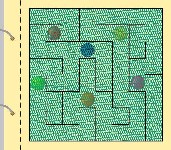 Jednoduchá stránka bludiště. Tyl prošitý hustým cik-cak stehem, pod tylem několik barevných korálků tzv. lentilek...