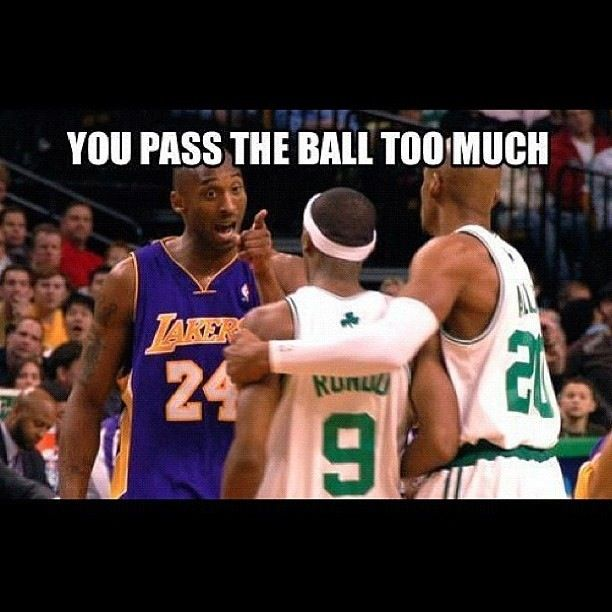 Kobe Bryant (24) hating on Rajon Rondo (9) Saying he passes too much
