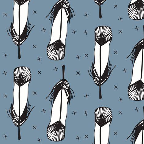 blue feather - elvelyckan fabric by elvelyckan on Spoonflower - custom fabric