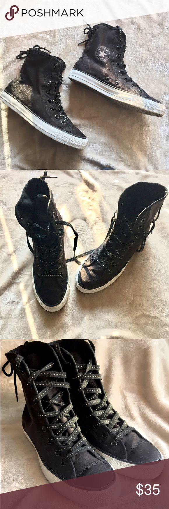 Nylon Black Chuck Taylor's All black High Top converse in a unique nylon material. Comes with black shoestrings with white dots and an all white sole. In excellent condition. 🚫No Trades 🚫No PayPal! For all offers please use offer feature ONLY! Thank you! Converse Shoes Sneakers