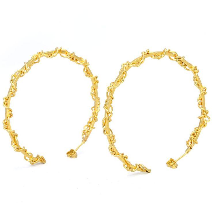Brinco Dourado Argola Com Corrente - B1245D1