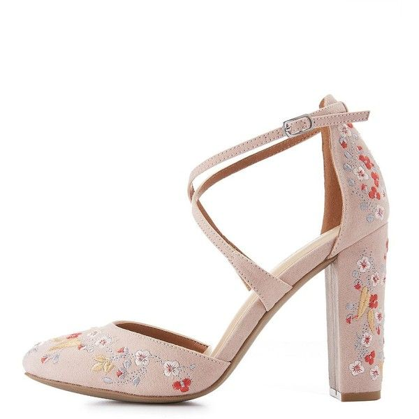 Charlotte Russe Floral Embroidered Crisscross Heels ($36) ❤ liked on Polyvore featuring shoes, pumps, nude, charlotte russe pumps, crisscross shoes, nude shoes, nude strappy shoes and strap pumps