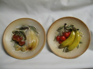 2 Vintage Napcoware Kitchen Kitsch Fruit Plate Wall Hanging National Potteries : decorative fruit plates for hanging - pezcame.com