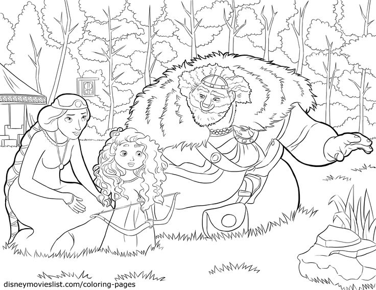 brave king fergus queen elinor and baby merida coloring page sheet