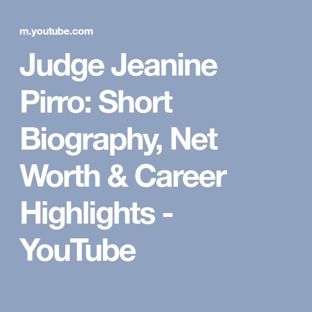 Judge Jeanine Pirro: Short Biography, Net Worth & Career Highlights - YouTube