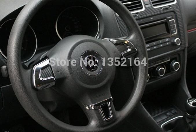 Auto steering wheel cover,interior decoration trim for Volkswagen vw polo 2011-2014 , ABS chrome,auto accessories,3pcs/set.