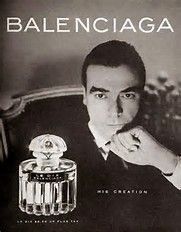1946-1947: Balenciaga presented the barrel line and was a stunning success with magnificently embroidered bolero jackets boasting Spanish influence. The first Balenciaga House perfume was created with the name Le Dix.    1948-1949: The first Balenciaga boutique, designed by world famous decorator Christos Bellos, was opened. La Fuite des Heures, the firm's second perfume was presented. Wladzio d ́Attainville died on December 14 in Madrid (1948).