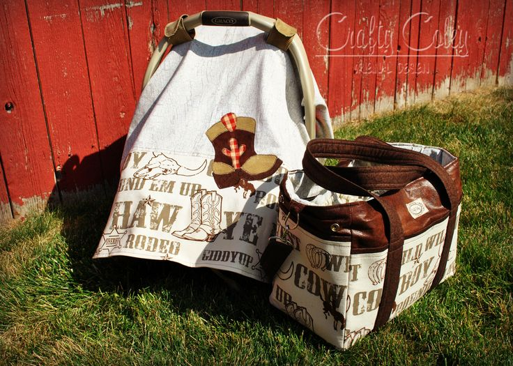 Cowboy Carseat Canopy And Matching Classic Diaper Bag